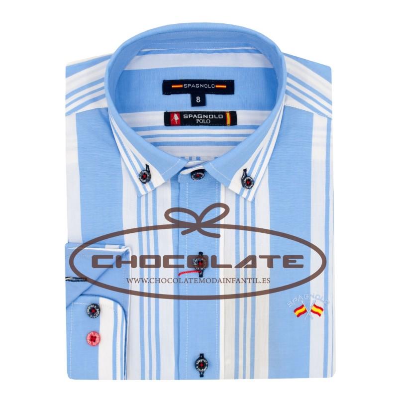 gran venta de liquidación pulcro Venta caliente genuino camisa rayas azul y blanca spagnolo