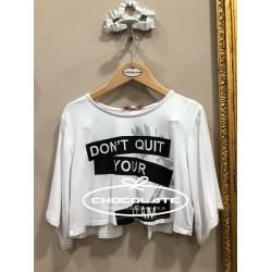 Camiseta corta blanca print negro
