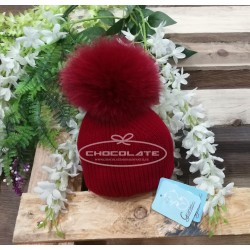 Gorro rojo pompón pelo natural