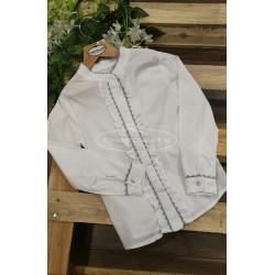 Camisa niña cuello mao blanca piquillo gris