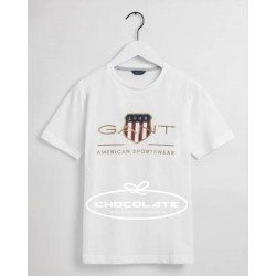 Camiseta blanca logo oro de Gant para niño