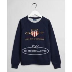 Sudadera para niño azul marino logo oro de Gant
