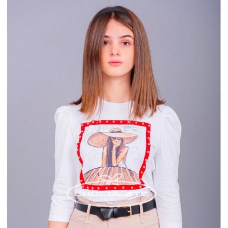 Camiseta blanca niña print chica gorro