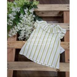 Blusa blanca rayas amarillas para niña