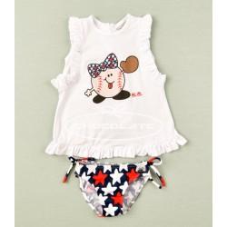 Conjunto camiseta y bikini estrellas para niña deJosé Varón