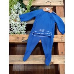 Conjunto jubón y polaina en hilo azulón para bebé