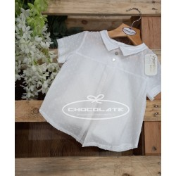Camisa plumeti blanca de manga corta de Valentina bebés