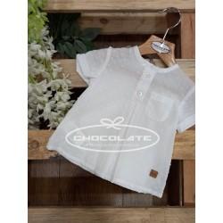 Camisa plumeti blanco manga corta de José Varón