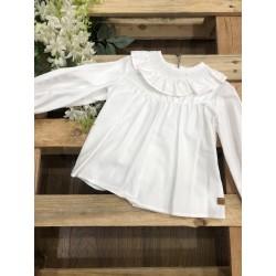 Camisa blanca de manga larga para niña
