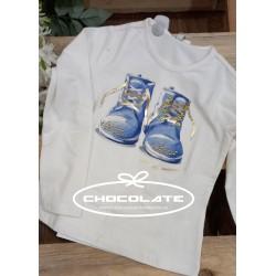 Camiseta niña botas azul y dorado